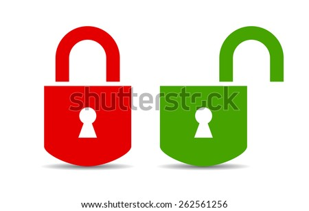 Open and closed padlock - stock vector