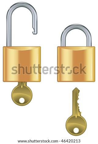 Open and closed padlock set with key isolated on white background - stock vector