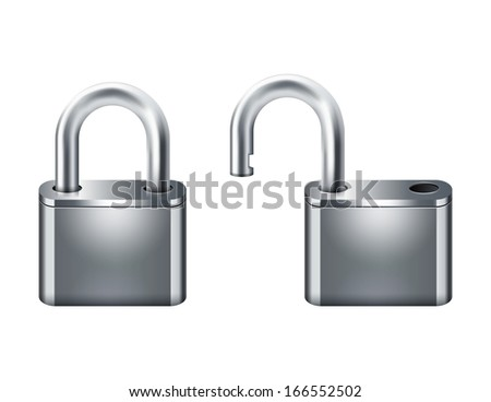 open and closed padlocks 10eps - stock vector