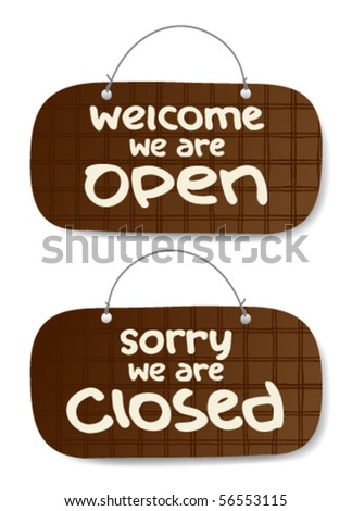 open and closed signs - stock vector