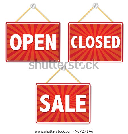 Open And Closed Signs, Vector Illustration - stock vector