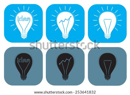 Open and turned off light bulb idea icon vector  - stock vector