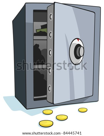 Open bank safe on white background - Vector - stock vector