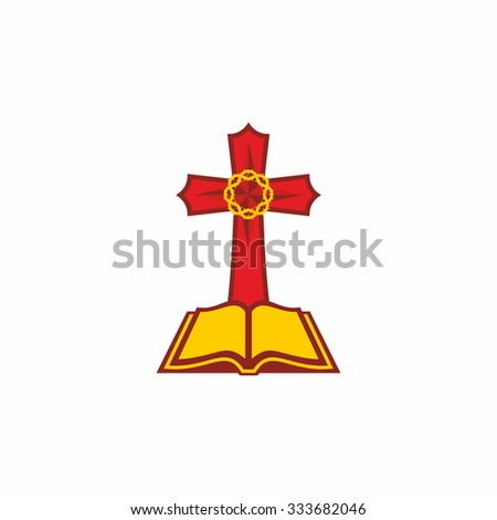 Open Bible, red, yellow, crown of thorns, cross, icon - stock vector