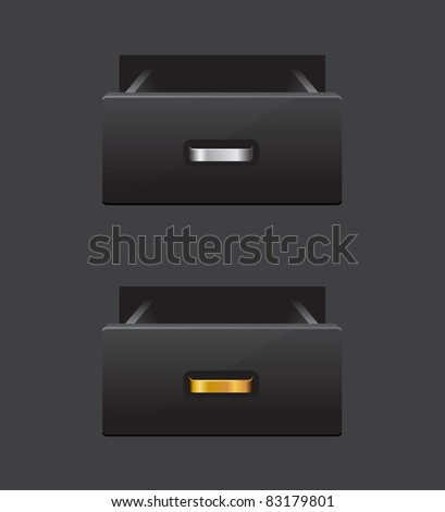 Open black drawer isolated on background. vector illustration - stock vector