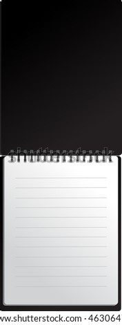 Open black notebook in lines - stock vector