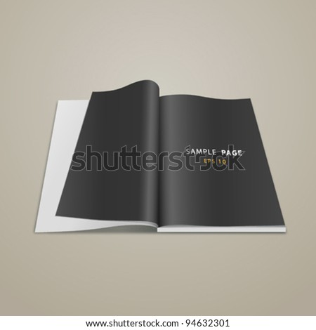 Open black page book, vector illustration - stock vector