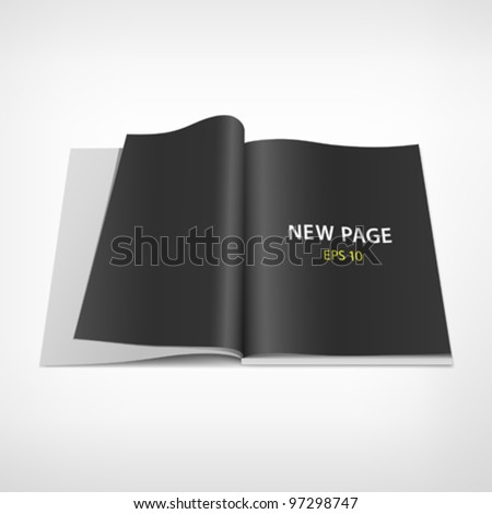 Open black page on book, vector illustration