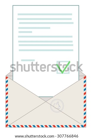 Open blank airmail envelope with rubber stamp with the approved letter. Stock Vector illustration  - stock vector