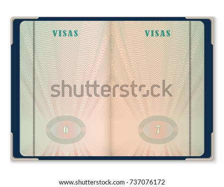 Open Blank Pages Passport Template Tourist Stock Vector