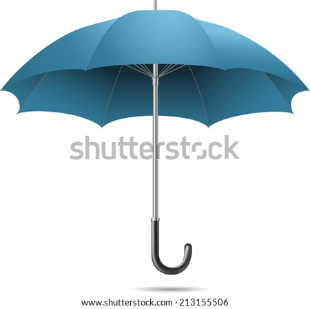 open blue umbrella on white background - stock vector