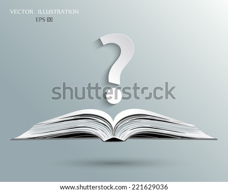 Open book and a question mark. Vector illustration - stock vector