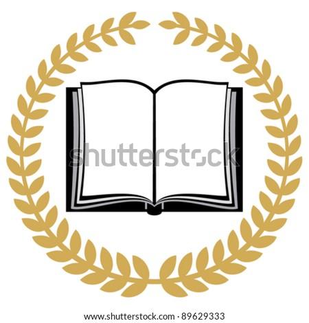 open book and laurel wreath - stock vector
