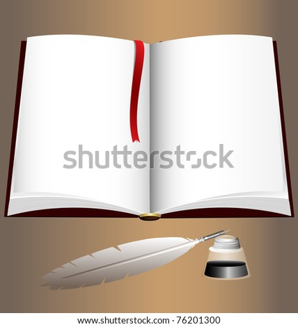 open book and writing pen - stock vector
