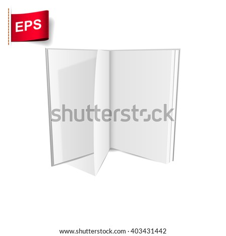 open book blank, vector mock up open book, isolated mockup opened book - stock vector