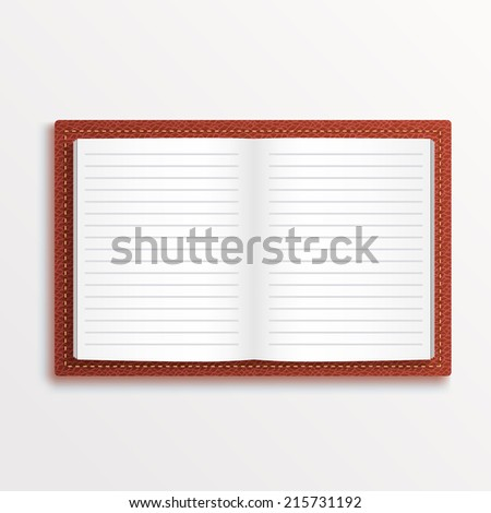 Open book 3d object, Brown leather organizer notepad notebook. Vector illustration - stock vector