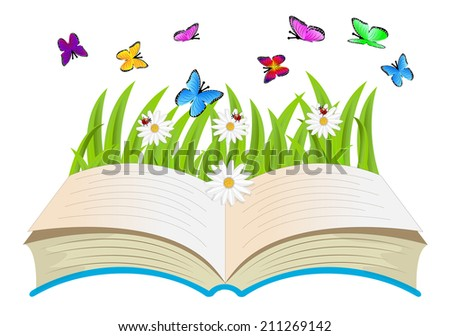 open book, flowers and butterflies,vector illustration
