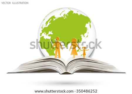 Open book happy family stories on the background of globe, vector illustration template design