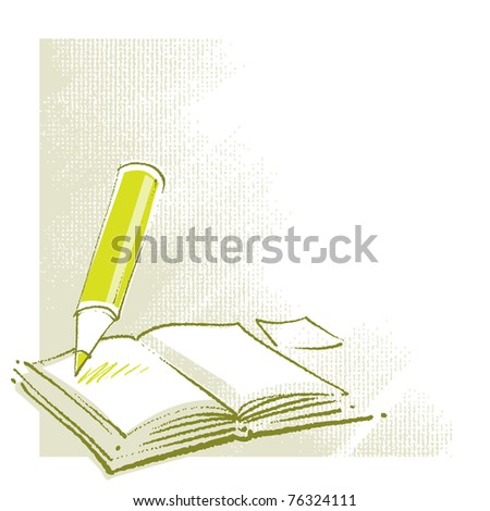 open book icon (with a pencil, stylized, simplified, artistic painterly style) - stock vector