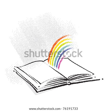 Open Book Icon with a Rainbow - stock vector