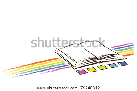 Open book icon (with a rainbow and color swatches, artistic painterly style) - stock vector