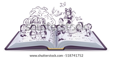 Open book illustration. Fairy tale Snow White and 7 Dwarfs. Isolated on white vector cartoon