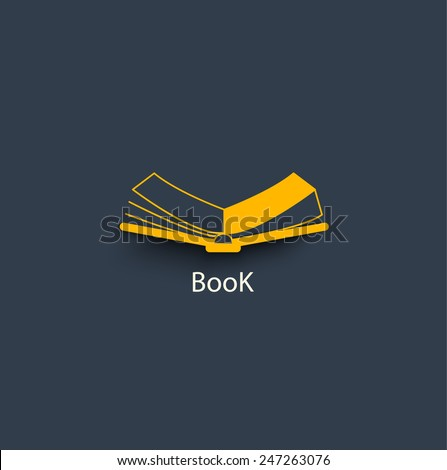 Open book in paper style- Vector icon - stock vector
