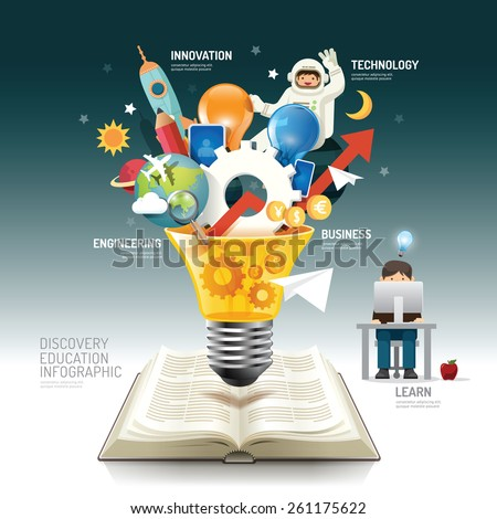 Open book infographic innovation idea on light bulb vector illustration. innovation concept.can be used for layout, banner and web design. - stock vector