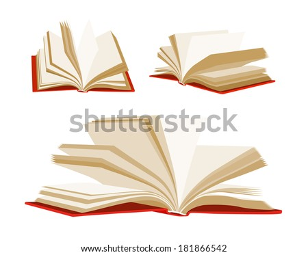 Open book isolated on white background. Vector set