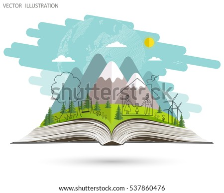 Open book of happy family stories. Ecology concept. Ecologically clean world. Nature is the open book. Landscape on open workbook. Vector illustration template design. Doodle.