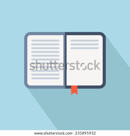Open book vector icon. Flat style with long shadow - stock vector