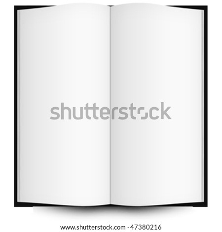 open book with blank pages, abstract vector art illustration