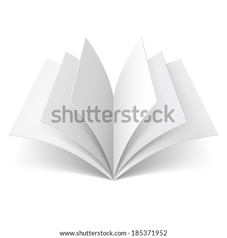 Open book with blank pages isolated on white background - stock vector