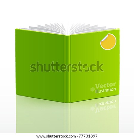 open book with green cover and sticker. Vector illustration. - stock vector