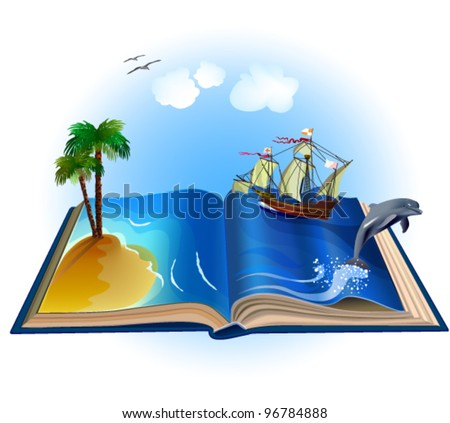 Open book with illustrations come alive. All objects are grouped separately. Isolated on white background - stock vector