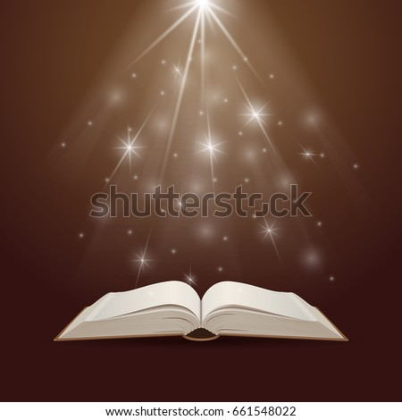 Open book with mystic bright light. Education and reading concept. Vector illustration