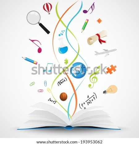 Open book with science icon