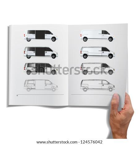 Open book with sketch van inside. Vector design. - stock vector