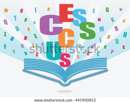 Open book with success alphabets, characters or letters on white background.