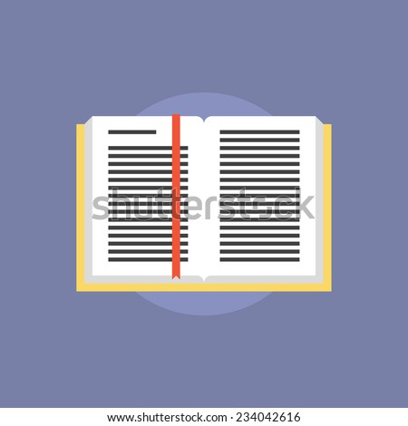 Open book with text information and bookmark. Flat icon modern design style vector illustration concept. - stock vector