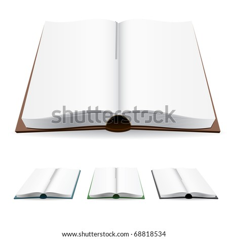 Open book with white pages. Vector illustration on white. - stock vector