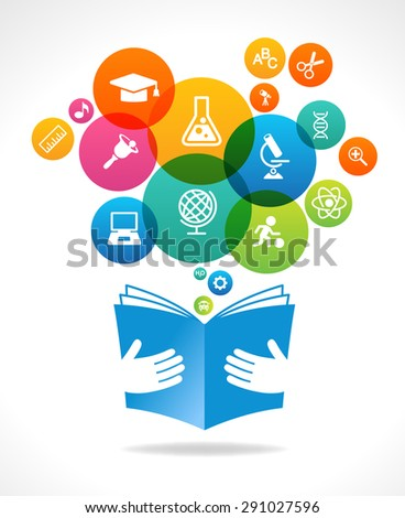 Open books and icons of science. The concept of modern education. This illustration contains a transparency - stock vector