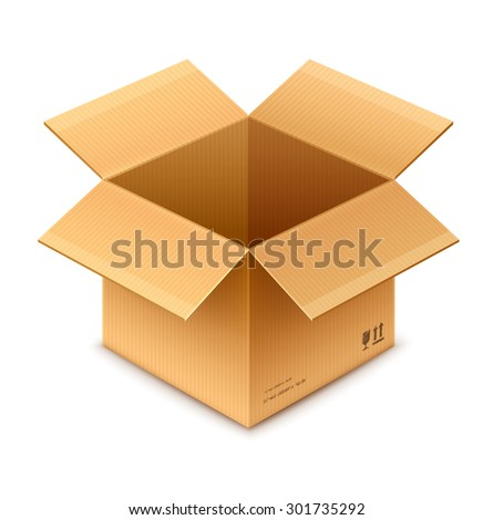 open box cardboard package isolated on transparent white background - eps10 vector illustration - stock vector