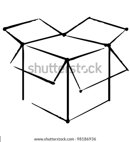 Open box icon isolated on white background. Hand drawing sketch illustration - stock vector
