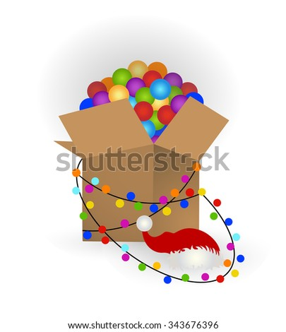 Open box of christmas baubles String of lights and Santa hat - getting ready for christmas or storing away for next year  - stock vector