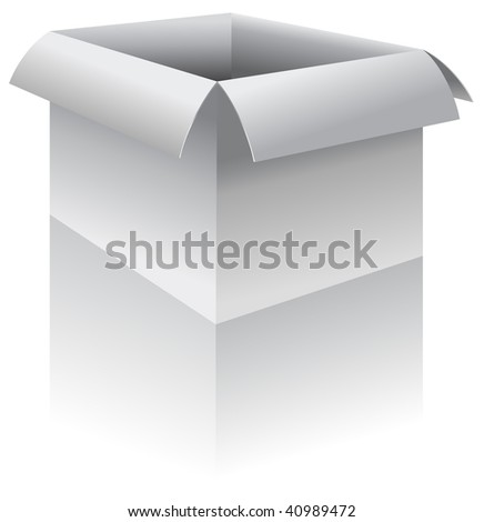 Open box - vector illustration.  shadow/reflection is on a separate layer for easy removal or editing - stock vector