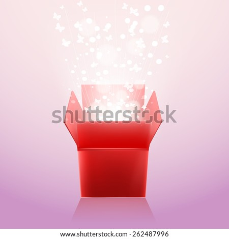 open box with flying butterflies and rays - stock vector
