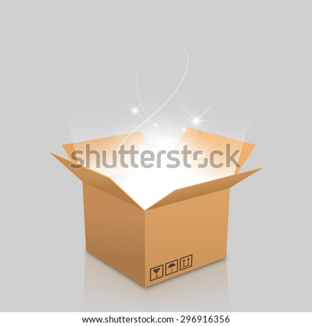open box with the outgoing light - stock vector