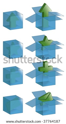 Open boxes, closed boxes and all outlines are on separate layers. Transparent effect is simulated, easily change background color to fit. - stock vector