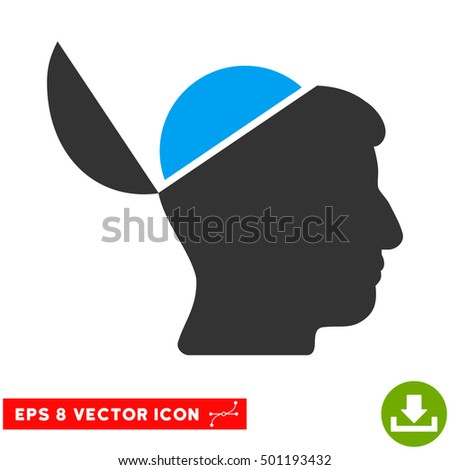 Open Brain EPS vector icon. Illustration style is flat iconic bicolor blue and gray symbol on white background.